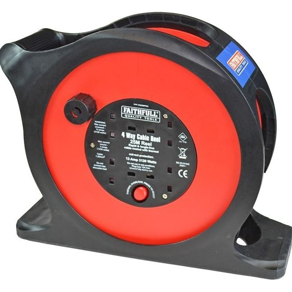 Faithfull-25m-Anti-Tangle-Rapid-Rewind-Cable-Reel-240-VOLT-4-WAY-13-Amp-181890874304
