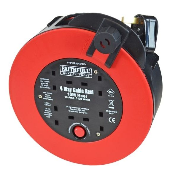 FAITHFULL-CABLE-REEL-240V-13AMP-10-METRE-SLIM-BODY-REEL-4-PLUG-OUTLETS-QTY-1-201695047228